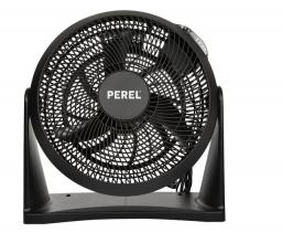 , Vloerventilator Perel met afstandsbediening Ø30cm zwart