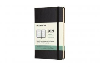 , Moleskine 12 MND Agenda - 2021 - Wekelijks Horiz. - Pocket (9x14 cm) - Zwart - Harde Kaft