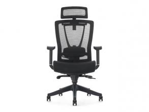, Bureaustoel luxe Kangaro netstof. Multi verstelbaar met     hoofdsteun, zwart.