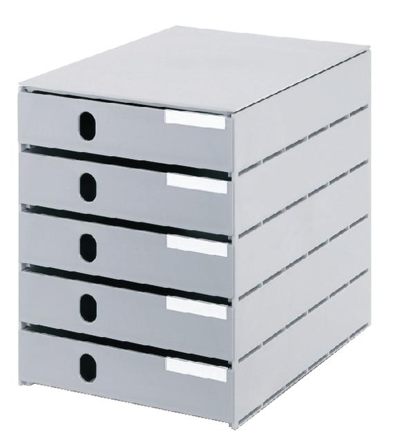 ,Ladenbox Styroval 5 laden grijs gesloten