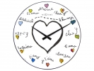 ,Wandklok NeXtime dia. 35 cm, bol glas, wit, `Loving you     Dome`