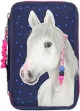 , Miss melody 3-vaks etui applicatie, blauw