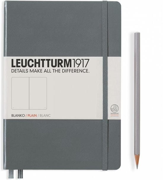 Lt344785,Leuchtturm notitieboek medium 145x210 blanco anthraciet