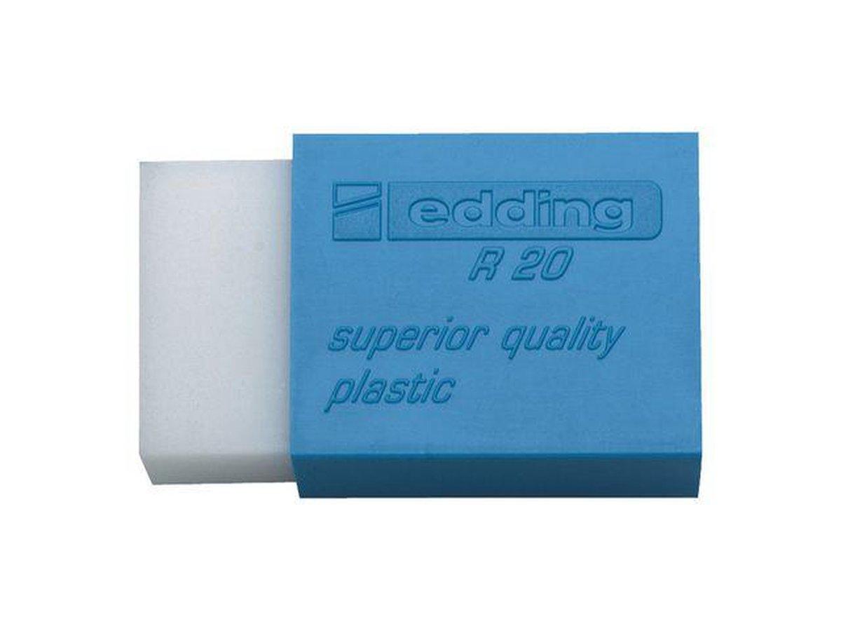 ,Gum edding R20 45x24x10mm kunststof wit met blauwe houder