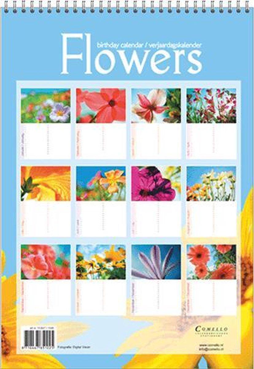 ,Verjaardagkalender flowers a4