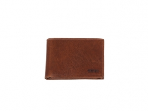 , Portefeuille Mika bruin RFID. Leer. 12x9,5x2,5cm