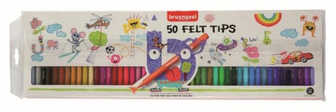 , Viltstift Bruynzeel Kids blister à 50 stuks assorti
