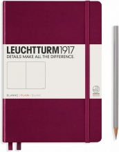 Lt359697 , Leuchtturm notitieboek medium 145x210 blanco port red wijnrood