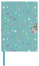 Mos-26092 Dagboek met slot bloemen en sterren