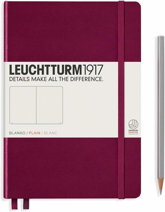 Lt359697,Leuchtturm notitieboek medium 145x210 blanco port red wijnrood