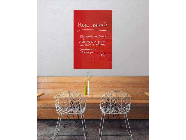 ,glasmagneetbord Sigel Artverum 1000x650x15mm rood