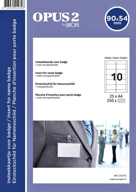 ,Badgekaart Opus 2 54x90mm 180gr wit