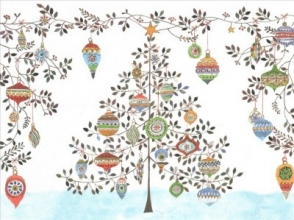 Watercolor Ornament Tree Deluxe Holiday Cards