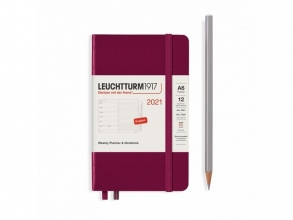 Lt361860 , Leuchtturm agenda 2021 pocket 9x15 9x15 l. ag. r. not. port red