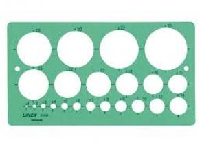 , Sjabloon Linex 1118S 22 cirkels 1-35mm met inktvoetjes