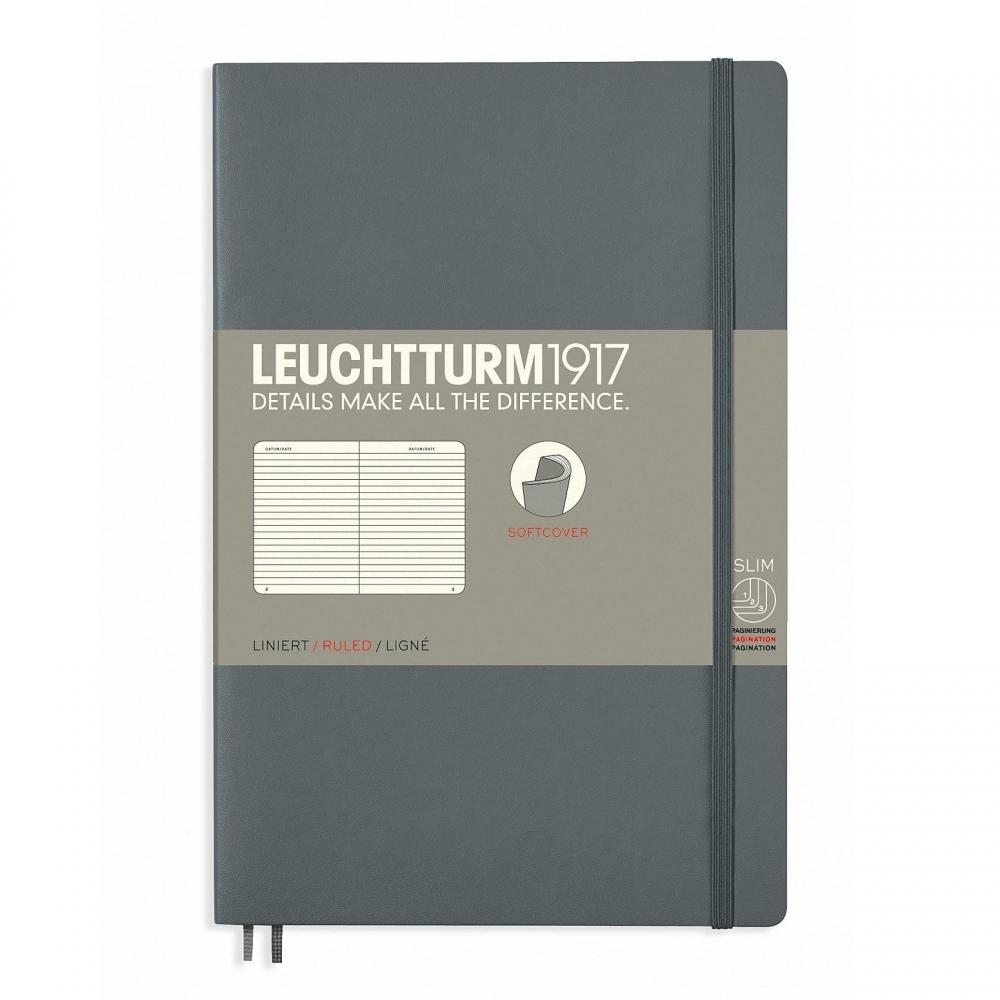 Lt358326,Leuchtturm notitieboek softcover 19x12.5 cm lijn antraciet