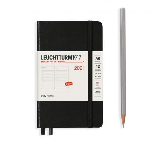 Lt362098,Leuchtturm agenda 2021 a5 1 dag pp pocket 9x15 zwart