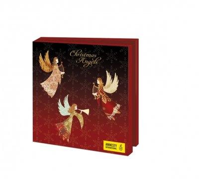 Wmc1001,Kerstkaart mapje 10 stuks met env amnety int christmas angels
