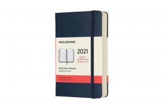 , Moleskine 12 MND Agenda - 2021 - Dagelijks - Pocket (9x14 cm) - Sapphire Blauw - Harde Kaft