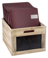 , Krijtbord securit krat hout bruin