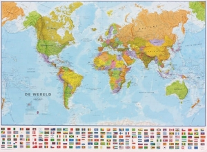 Maps International (pp.maps1/6 Wereld Politiek (vlaggen + Laminated In Tube, 68x52 Cm)