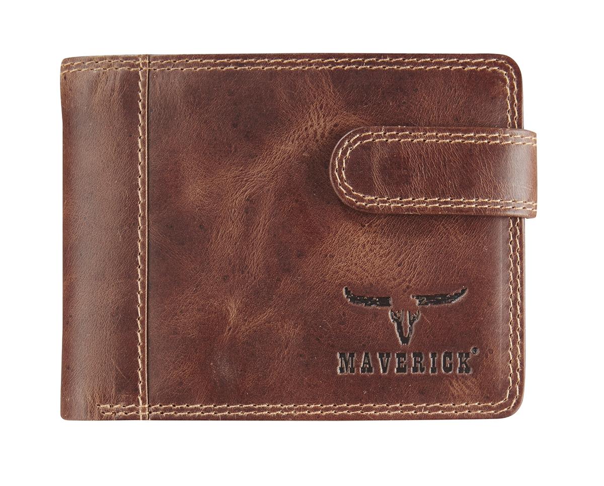 Ma-480-262-33,Maverick dalian ii rfid-blocking billfold portemonnee leer donkerbruin