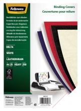 , Voorblad Fellowes A4 lederlook wit 25stuks