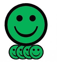 , Magneet smiley 75mm emotie blij groen