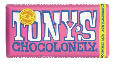 , Chocolade Tony`s Chocolonely reep 180gr wit framboos knettersuiker