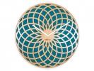 ,Wandklok NeXtime dia. 35 cm, hout & stof, turquoise, `Sun   Small`