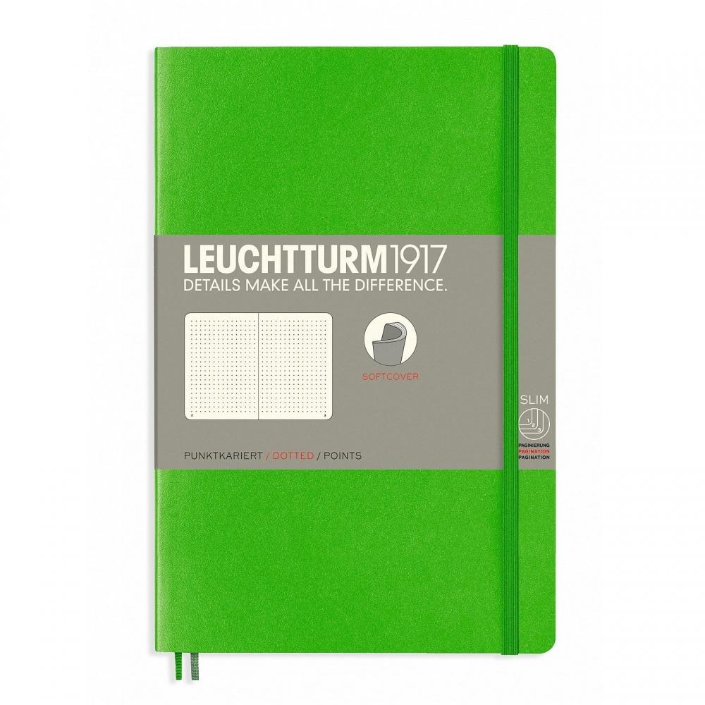 Lt358306,Leuchtturm notitieboek softcover 19x12.5 cm bullets/dots/puntjes heldergroen