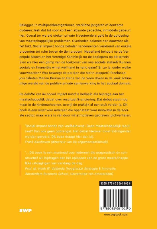 Menno Bosma, Hans van de Veen,De belofte van de social impact bond