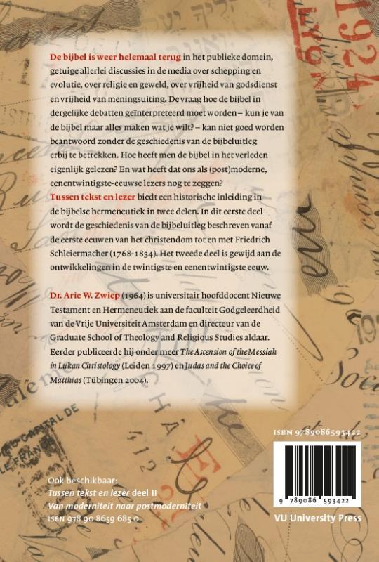 A.W. Zwiep,Tussen tekst en lezer 1 De vroege kerk - Schleiermacher