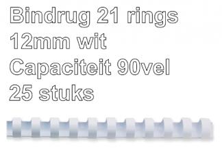 , Bindrug Fellowes 12mm 21rings A4 wit 25stuks