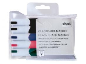 , glasboardmarker Sigel 2-3mm ronde punt 5 stuks in etui      assorti