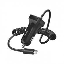 , Autolader Hama USB-C spiraalsnoer 2,4A, zwart