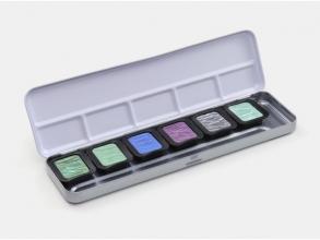 , Verftablet 30x22mm Pearlescent 6 stuks in blik, Finetec 5   en 1 Flip Flop kleur