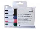,glasboardmarker Sigel 2-3mm ronde punt 5 stuks in etui      assorti