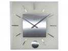 ,Wandklok NeXtime 40 x 40 cm, melkglas, `Stripe Pendulum     Square`