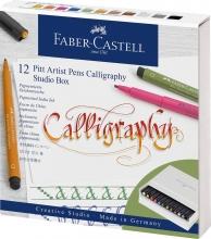 , Tekenstift Faber-Castell Pitt artist kalligrafieset         Studiobox 12 stuks