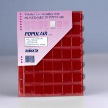 0842r , Importa populair muntalbumbladen 4 stuks 42 vaks rode schutbladen