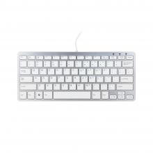 , Ergonomisch toetsenbord R-Go Tools Compact Qwerty zilver-wit