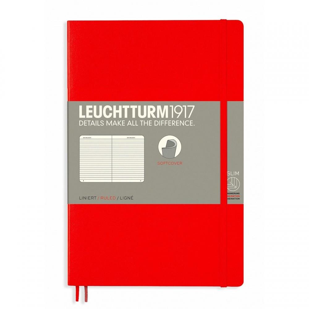 Lt358296,Leuchtturm notitieboek softcover 19x12.5 cm lijn rood