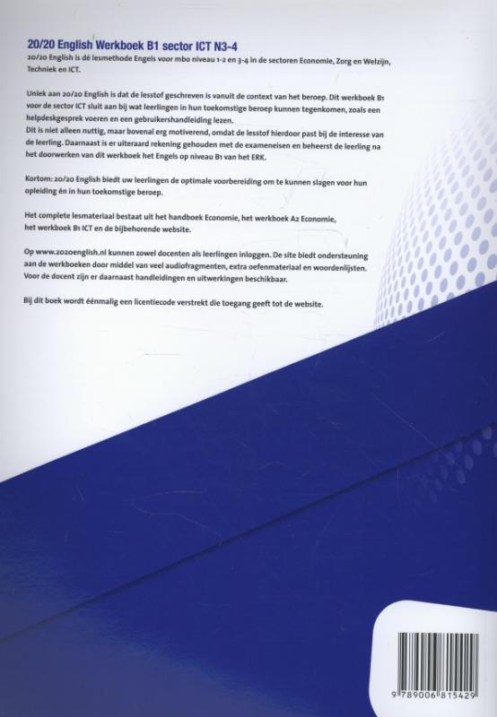 Mark de Jong,20/20 English Sector ICT N3-4 Werkboek B1