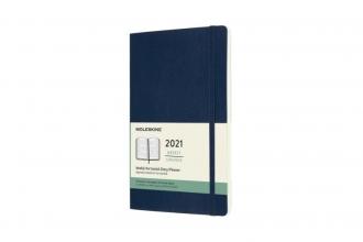 , Moleskine 12 MND Agenda - 2021 - Wekelijks Horiz. - Large (13x21 cm) - Sapphire Blauw - Zachte Kaft