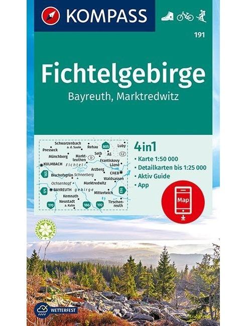 Kompass-Karten Gmbh,Fichtelgebirge, Bayreuth, Marktredwitz 1:50 000