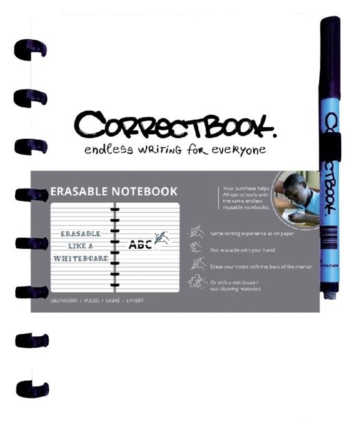,Notitieboek Correctbook uitwisbaar en herbruikbaar A5 wit lijn 40blz