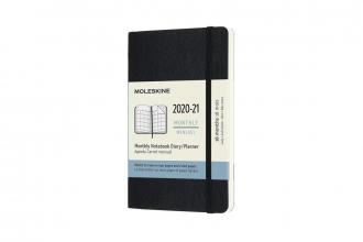 , Moleskine 18 MND Agenda - 2020/21 - Maandelijks - Pocket (9x14 cm) - Zwart - Zachte Kaft