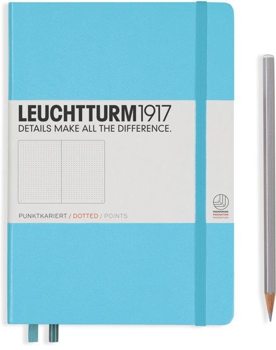 Lt357482,Leuchtturm notitieboek medium 145x210 dots / bullets ijsblauw