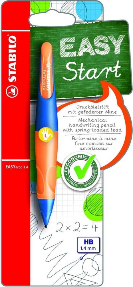 ,Vulpotlood STABILO Easyergo 1.4mm linkshandig ultramarine/neon oranje blister